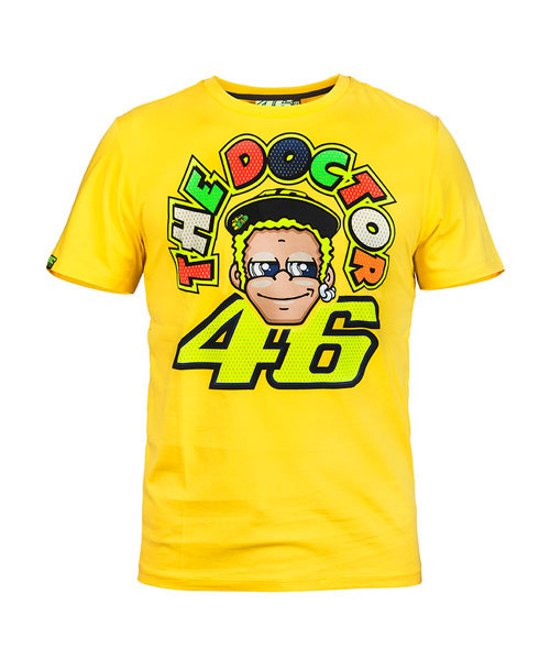 b77ff0040 Valentino Rossi 46 mens the doctor cartoon t-shirt yellow